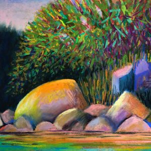 Penobscot Bay Island from Kayak (pastel) by Polly Castor