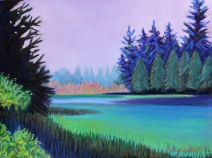 Lavender Dawn on Schoodic Peninsula (pastel) by Polly Castor
