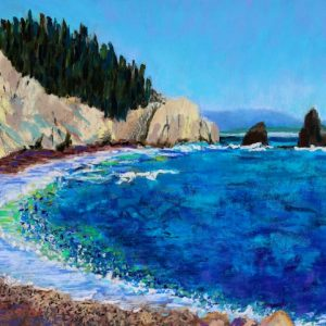Sea Stacks in Nova Scotia ( pastel) by Polly Castor
