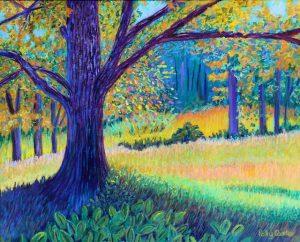 Under a tree on Umpawaug (pastel) by Polly Castor
