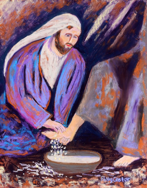 The Calm Before the Storm (Paining of Jesus washing feet) by Polly Castor
