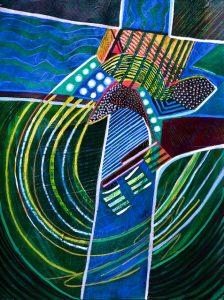 Cruciform #5 (acrylic) by Polly Castor