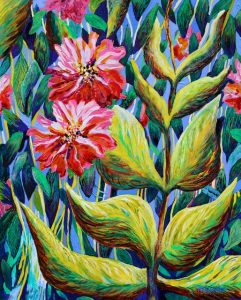 In Among the Leaves (acrylic) by Polly Castor