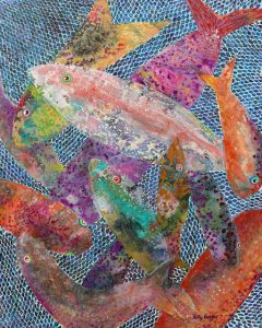 Cast Your Net on the Right Side (mixed media) by Polly Castor