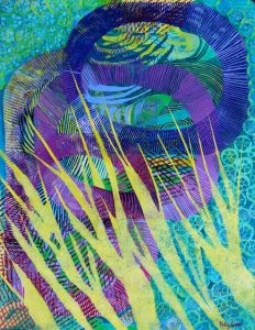 In the Beginning (monoprint) by Polly Castor