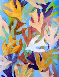 Spirit Descending Like a Dove monoprint by Polly Castor