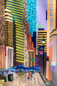 Alone in the City (pastel painting) by Polly Castor