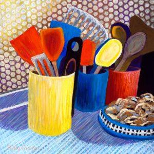 Kitchen Utensils (pastel) by Polly Castor