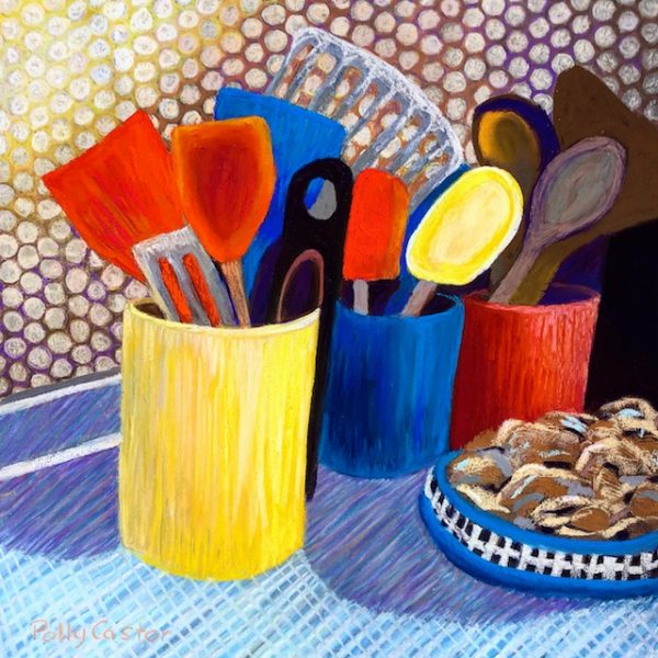 Kitchen Utensils (pastel) by Polly Castor