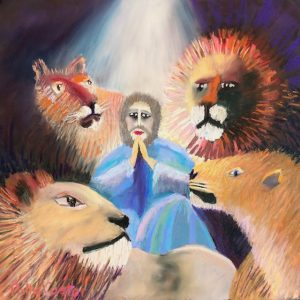 Daniel and the Lion's Den (pastel) by Polly Castor
