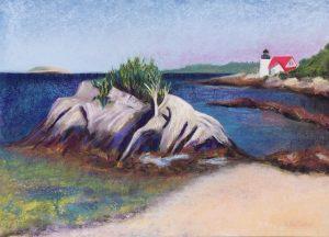 Hendrick's Head Lighthouse (pastel) by Polly Castor