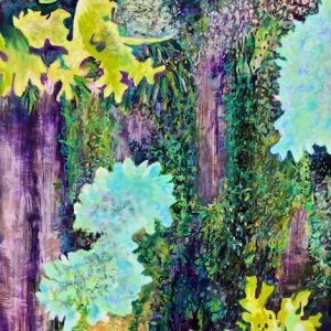 Katahdin Bark with Lichen and Moss, painting by Polly Castor